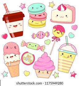 Set of cute sweet icons in kawaii style with smiling face and pink cheeks for sweet design. Sticker with inscription So cute. Ice cream, candy, cap with coffee, soda, cupcake, macarons. EPS8
