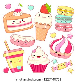 Set of cute sweet icons in kawaii style with smiling face and pink cheeks for sweet design. Sticker with inscription So cute. Ice cream, candy, donut, cap with soda, cupcake, macarons. EPS8