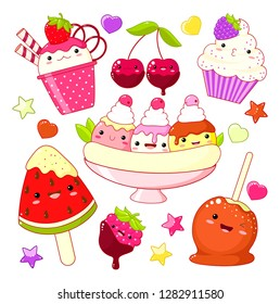 Set of cute sweet icons in kawaii style with smiling face and pink cheeks for sweet design. Ice cream with strawberry, sundae kids, banana split, caramel apple, watermelon, cupcake. EPS8