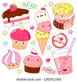 Set of cute sweet icons in kawaii style with smiling face and pink cheeks for sweet design. Sticker with inscription So cute. Ice cream, candy, donut, cap with soda, cupcake. EPS8