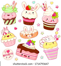 Set of cute sweet icons in kawaii style with smiling face and pink cheeks for sweet design. Ice cream, cake, sundae kids, cupcake, donuts. EPS8