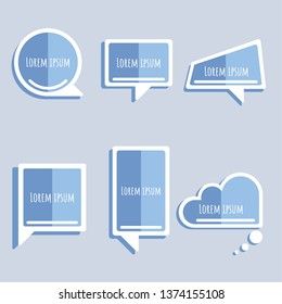 set of cute, sweet, pastel collection two tone blue speech bubble balloon think,speak,talk,template,art,flat,design,vector,illustration text box banner frame