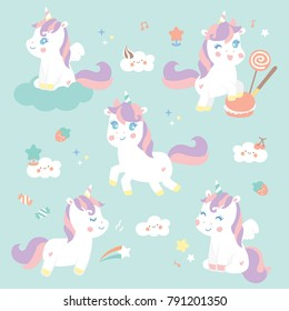 set cute sweet unicorn