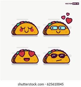 Set of Cute Taco Line Icons