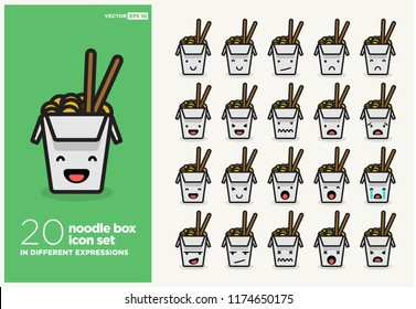 Set of Cute Takeaway Noodle Box Emoji Line Icons In Different Expressions