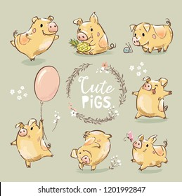 Set of Cute Tiny Yellow Pig in different poses. Dancing piggy, pig with the balloon. New Year Symbol of Chinese calendar. The year of the pig