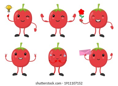 set cute tomato with vaious emotions pose