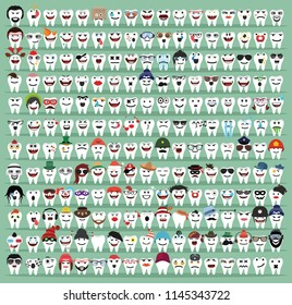 Set Cute Tooth Emoji Emoticons