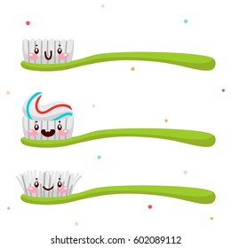 Set with cute toothbrush, cartoon characters, oral dental hygiene, set, collection, vector.