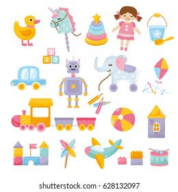 Set of cute toys. Funny robot, little unicorn, ball, toy car, doll, train and other kids items. Different toy icon collection.