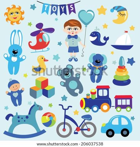 3fec1bb17595 Set Cute Toys Icons Little Baby Cartoon Stock Vector (Royalty Free ...