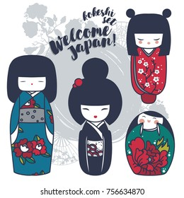 set of cute traditional japanese dolls - kokeshi, vector illustration in cartoon style