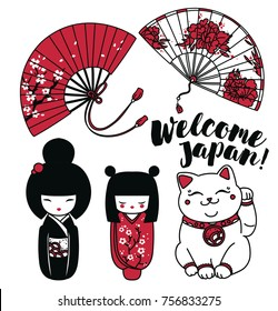 Set of cute traditional souvenirs of Japan: asian hand paper fans, kokeshi - wooden doll and maneki neko - cat with rised hand, vector illustration