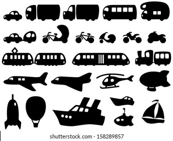 Set of cute transportation icons