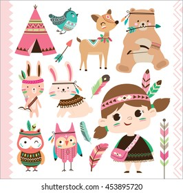Set of cute tribal animals and a little girl in cartoon style