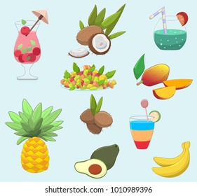 Set of cute tropic food and drinks: Cocktails, coconuts, salad, mango, pineapple, avocado and bananas