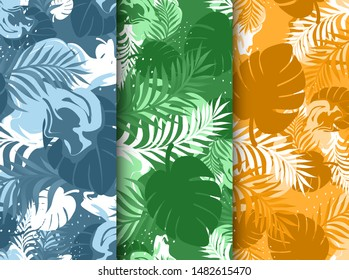 Set of cute tropical abstract design seamless blue green orange patterns