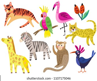 A set of cute tropical hand drawn animals in vector.