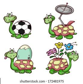 set of cute turtles