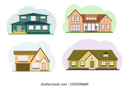 A set of cute two-story country houses. Attic, potted flowers on the windows. Flat design