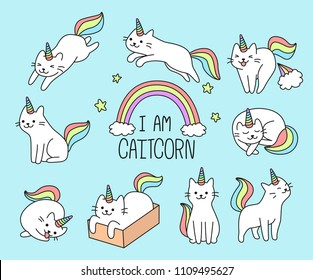 Set of cute unicorn cat