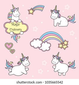set of cute unicorn icons, rainbow and stars, child vector illustration, cartoon design