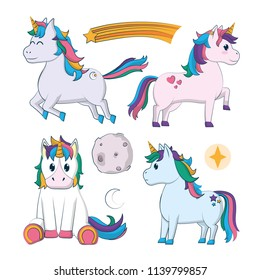 Set of cute unicorns cartoons