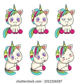Set of cute unicorns with different emotions. Vector cartoon illustration