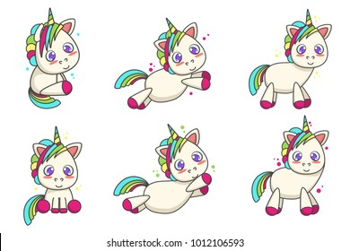 Set of cute unicorns with different poses. Vector cartoon illustration
