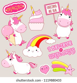 Set of cute unicorns in kawaii style. Unicorn with ice cream, rainbow, sticker with inscription magic, i believe in unicors. EPS8