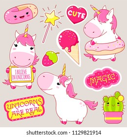 Set of cute unicorns in kawaii style. Unicorn with donut, cactus in flowerpot, magic wand, sticker with inscription magic, i believe in unicors. EPS8