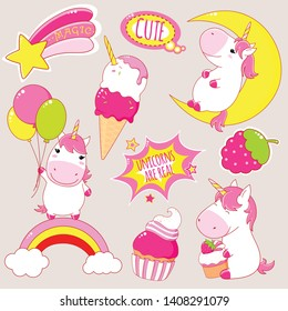 Set of cute unicorns in kawaii style. Unicorn on rainbow, with balloons, cupcake, ice cream, sticker with inscription magic, unicorns are real. EPS8