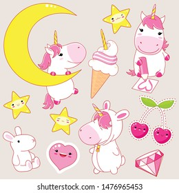 Set of cute unicorns in kawaii style. Unicorn on crescent, with pencil, in a rabbit costume, diamond, toy, ice cream. EPS8