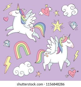 A set of cute unicorns with quirky elements like rainbows, stars and hearts. Vector illustration.