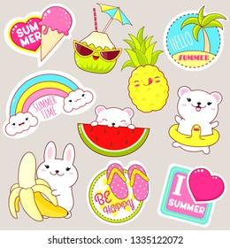 Set of cute vacation icons in kawaii style. Bunny with banana, polar bear with lifebuoy, pineapple, coconut, sticker with inscription hello summer, i love summer, ice cream, rainbow, flip flops. EPS8