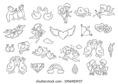 Set of cute Valentine day doodle elements. cupid angles, couples, penguins, swans and more. Vector illustration for banner and poster