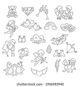 Set of cute Valentine day doodle elements. Hearts, couples, birds, gift and more. Vector illustration for banner and poster.
