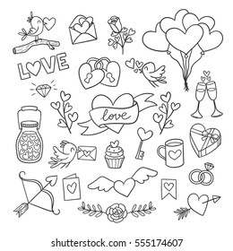 Set of cute Valentine day doodle elements. Hearts, flowers, birds, balloons and more. Vector illustration for your design.
