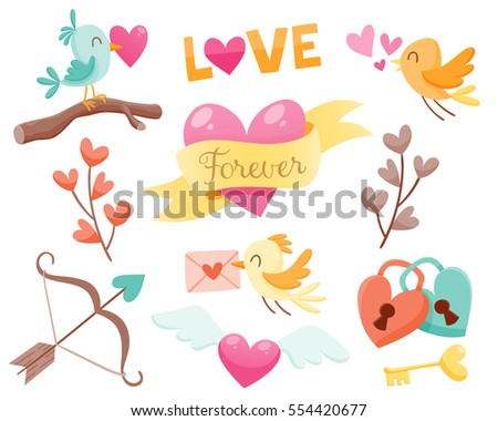 Set Cute Valentine Day Elements Birds Stock Vector Royalty Free