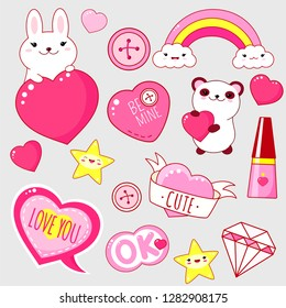 Set of cute Valentine's day party icons in kawaii style. Bunny and panda with heart, gift, diamond, rainbow, sticker with inscription I love you, cute, be mine. EPS8