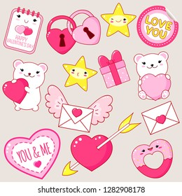 Set of cute Valentine's day party icons in kawaii style. Polar bear with heart, gift, heart shaped lock and donut, heart pierced by an arrow, sticker with inscription love you. EPS8