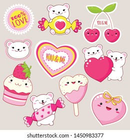 Set of cute Valentine's day party icons in kawaii style. Polar bear with heart, candy, cupcake with strawberry, heart shaped ice cream, sticker with inscription 100% love. EPS8