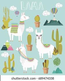 Set of Cute vector alpaca and cactus elements. Editable vector illustration