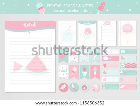 photo regarding Have a Cool Summer Printable referred to as Established Lovely Vector Cardscoolsummerice