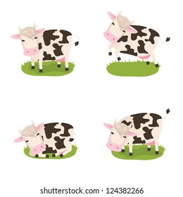 Set of for cute vector cows in different poses