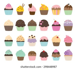 Set of cute vector cupcakes and muffins