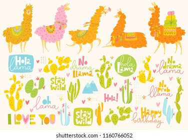 Set of cute vector designs with cartoon lama and cacti.