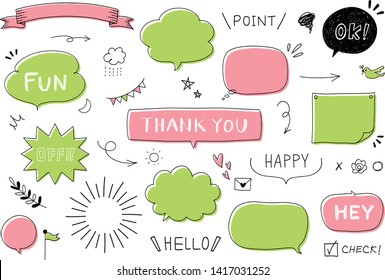 Set of cute vector doodle speech bubbles.Text illustration in hand drawn style.