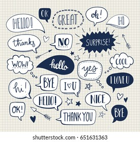 Set of cute vector doodle speech bubbles. Text illustration in hand drawn style. Hello, Love, Bye, Hi, Thank you, Sale, Yes, No, I love you, Nice, Cool.