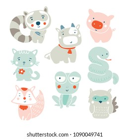 Set of cute vector farm animals and wood animals isolated on white - racoon, cow, pig, cat, frog, fox, snake, owl